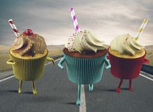 Cupcake on the road Royalty Free Stock Images