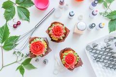 Cupcake with rose, from Korean buttercream, dessert.  stock image