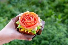 Cupcake with rose, from Korean buttercream, dessert.  stock photos