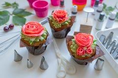 Cupcake with rose, from Korean buttercream, dessert.  royalty free stock photos