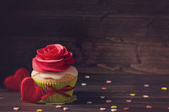 Cupcake with rose Royalty Free Stock Images