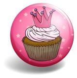 Cupcake on round badge Stock Image