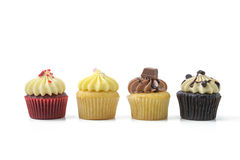 Cupcake. Row of four cupcake on white background royalty free stock images