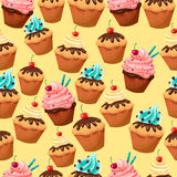 Cupcake seamless background with cherry. A lot of cupcakes on yellow background vector illustration