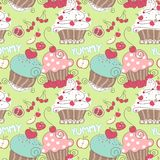 Cupcake Seamless Pattern Royalty Free Stock Images