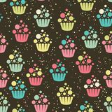Cupcake seamless pattern Royalty Free Stock Photography
