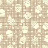Cupcake seamless pattern with cupcakes, vector  Stock Images