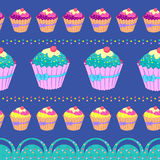 Cupcake seamless pattern Stock Photos