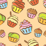 Cupcake seamless pattern Royalty Free Stock Photo