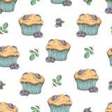 Cupcake seamless pattern. Vector illustration. Hand draw Royalty Free Stock Photos