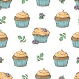 Cupcake seamless pattern. Vector illustration. Hand draw Stock Images