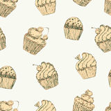 Cupcake seamless pattern. Vector image. Royalty Free Stock Photo