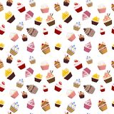 Cupcake Seamless Texture. Colorful Cupcakes Seamless Texture Background Backdrop Pattern Stock Photo