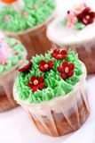 Cupcake Series 03. Close up Capture on Sugar and Cream Made Flower Cupcake Stock Images