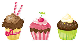 Cupcake set. Cartoon illustrated different cupcake set stock illustration