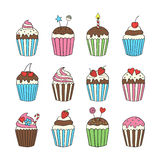 Cupcake set colorful isolated vector Stock Photos