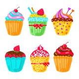 Cupcake set. Hand drawn vector illustration Royalty Free Stock Photo