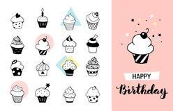 Cupcake set Royalty Free Illustration