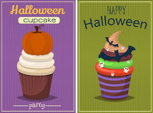 Cupcake  set. Happy Halloween Scary Sweets poster. Royalty Free Stock Photos