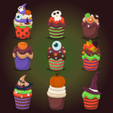 Cupcake  set. Happy Halloween Scary Sweets. Royalty Free Stock Images