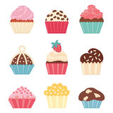 Cupcake set. Icons cupcake, flat style. Vector illustration Stock Photos