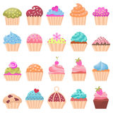 Cupcake set. Icons cupcake, flat style. Vector illustration Royalty Free Stock Photos