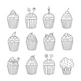 Cupcake set isolated vector Stock Image