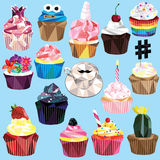 Cupcake set. Cupcake and muffin set of 15 different colorful low poly designs isolated on light blue background Royalty Free Stock Photo