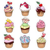 Cupcake set. Set of nine colorful delicious cupcakes drawn in cartoon style.  on white background Royalty Free Stock Image