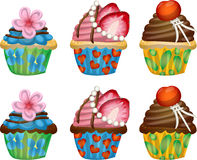 Cupcake. Set of three types of cupcake in chocolate and normal version Royalty Free Stock Image