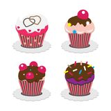 Cupcake set, vector illustration. Royalty Free Stock Images