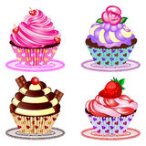Cupcake Set Vector Illustration. A set of four beautiful cupcakes Royalty Free Stock Photography