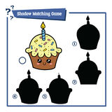 Cupcake shadows. Vector illustration of educational shadow matching game with cartoon cupcake for children Royalty Free Stock Images