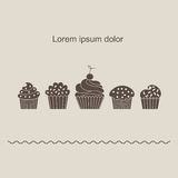 Cupcake silhouette. Design postcards or flyers. Performed in a flat style. Vector illustration Stock Images