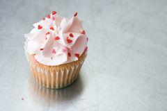 Cupcake on Silver Surface Stock Photography