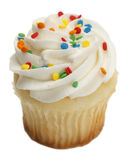 Cupcake. Single Cupcake with White Frosting and Sprinkles Isolated On White Background stock photos