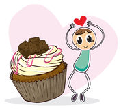 A cupcake and a sketch of a boy with a heart Royalty Free Stock Photo