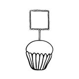 Cupcake sketch with frilly square topper Stock Images