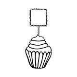 Cupcake sketch with frilly square topper Royalty Free Stock Photo
