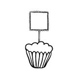 Cupcake sketch with frilly square topper Stock Photography