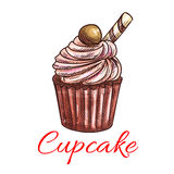 Cupcake sketch icon. Patisserie emblem Royalty Free Stock Images
