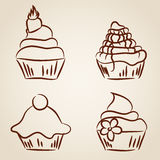 Cupcake sketches Royalty Free Stock Photography