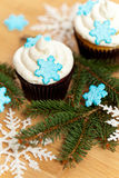 Cupcake with snowflakes Royalty Free Stock Photo
