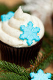 Cupcake with snowflakes Stock Image