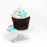 Cupcake with snowflakes Royalty Free Stock Photos