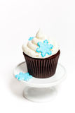 Cupcake with snowflakes Royalty Free Stock Images