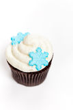 Cupcake with snowflakes Stock Photos