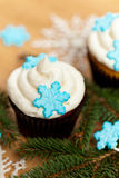 Cupcake with snowflakes Stock Images