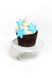 Cupcake with snowflakes Stock Photography
