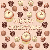 Cupcake Snowman and chocolates. Vector image. Stock Photo